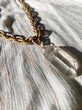 "Load image into Gallery viewer, Golden Textured Soul Chain with Chunky Clear Quartz - 26""L Crystal 2""L - Ola Wyola"