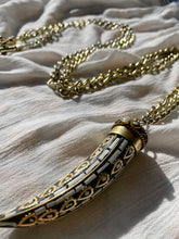 "Load image into Gallery viewer, XL Golden Chain with Onyx and Howlite Horn 50""L - Horn 3""L - Ola Wyola"