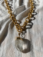 "Load image into Gallery viewer, Brushed Golden Crystal Necklace with Clear Quartz 30""L Crystal 1.5""L - Ola Wyola"