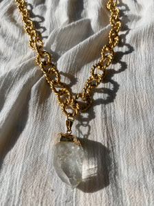"Brushed Golden Crystal Necklace with Clear Quartz 30""L Crystal 1.5""L - Ola Wyola"