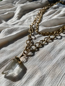 "Multi-strand Brushed Gold Chain with Clear Quartz 16""L Crystal 1.25L - Ola Wyola"