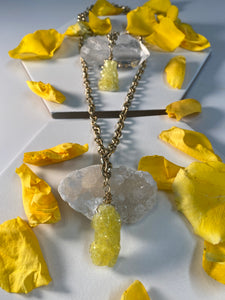 Shakti Chakra Soul Chain with Gold Layering Chain Rare Brucite Double Crystal