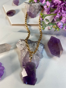 Shakti Chakra Soul Chain Chunky Gold Chain Large Faceted Amethyst