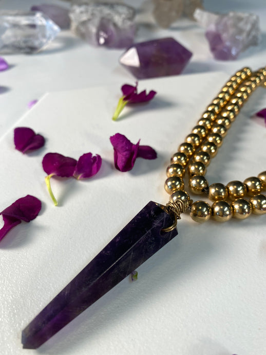 Shakti Chakra Soul Chain  Gold Beaded Choker with  Large Amethyst Crystal