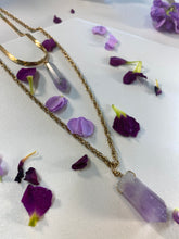 Load image into Gallery viewer, Shakti Chakra Soul Chain Double Layered Gold Necklace with Amethyst Crystals