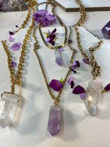 Shakti Chakra Soul Chain Double Layered Gold Necklace with Amethyst Crystals