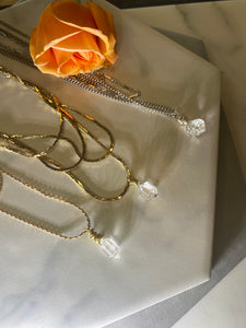 Dainty Baby Golden Soul Chain w Herikmer Diamond Quartz Crystal