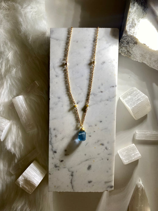 Dainty Soul Chain w Pillow Cut Blue Faceted Fluorite