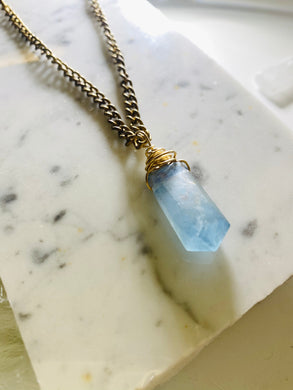 Dainty Baby Soul Chain w Blue Faceted Fluorite Necklace