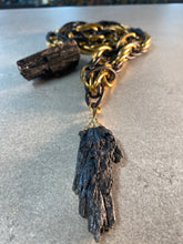 Load image into Gallery viewer, Black & Gold Chunky Chain w/ Rare Massive Black Kyanite Crystal