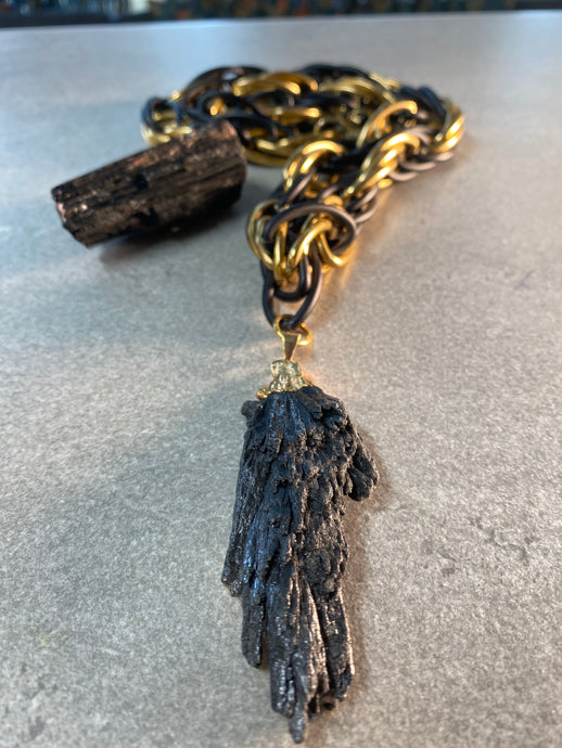 Black & Gold Chunky Chain w/ Rare Massive Black Kyanite Crystal