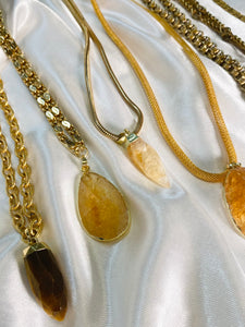 S.O.S Gold Plated Soul Chain w/ Faceted Tigers Eye Electroplated Gold Crystal