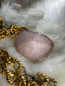 Chunky Gold Soul Chain w Faceted Rose Quartz Crystal