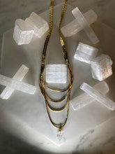 Load image into Gallery viewer, Dainty Baby 3 Layer Necklace w Herikmer Diamond Quartz Crystal