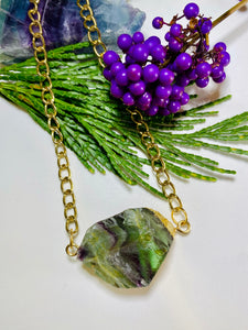 Rainbow Fluorite Crystal Gold Soul Chain Necklace