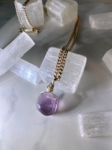 Dainty Baby Silver Soul Chain with Pillow Faceted Fluorite Crystal