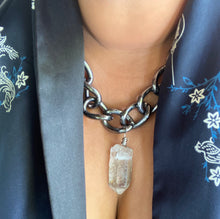 Load image into Gallery viewer, Chunky Silvery Black Soul Chain Necklace with Chunky Clear Quartz Crystal