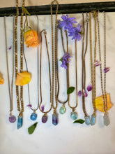 Load image into Gallery viewer, Dainty Baby Gold Soul Chain with multi color Faceted  Fluorite crystal