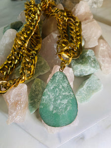 Chunky Gold Soul Chain with Aventurine Crystal