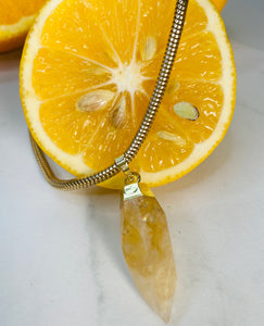 S.O.S Gold Plated Soul Chain w/ Electroplated Gold Citrine Crystal