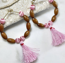 Load image into Gallery viewer, Heart Chakra Soul Chain Earrings w Vintage Teak Beads, Pink Tassels