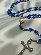 Load image into Gallery viewer, Vintage Blue Oval Rosary Bead  Necklace - Ola Wyola