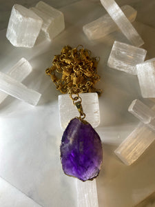 Soul Chain Necklace with Faceted Amethyst Crystal