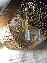 Load image into Gallery viewer, Chakra Powered Soul Chains Hoops w Blue Fluorite Crystals