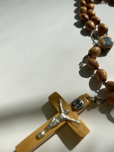 Vintage Wooden Rosary Necklace with Aqua Mary - Ola Wyola