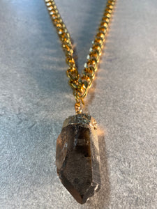 Chunky Soul Chain Necklace with Gold Chain w/ Smokey Quartz