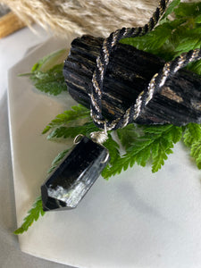 247 Soul Chain Necklace w Blk & Silver and Black Tourmaline Crystal
