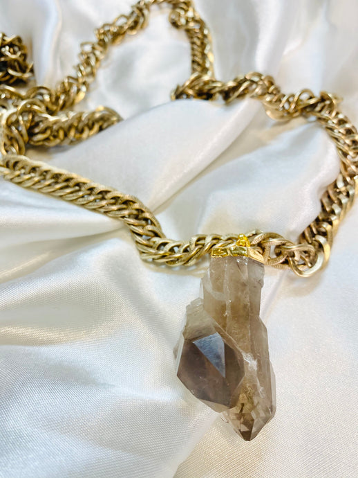 Ra - Akashic Records Collection - Soul Chains Necklace w Electroplated Smokey Quartz