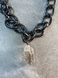 Chunky Silvery Black Soul Chain Necklace with Chunky Clear Quartz Crystal