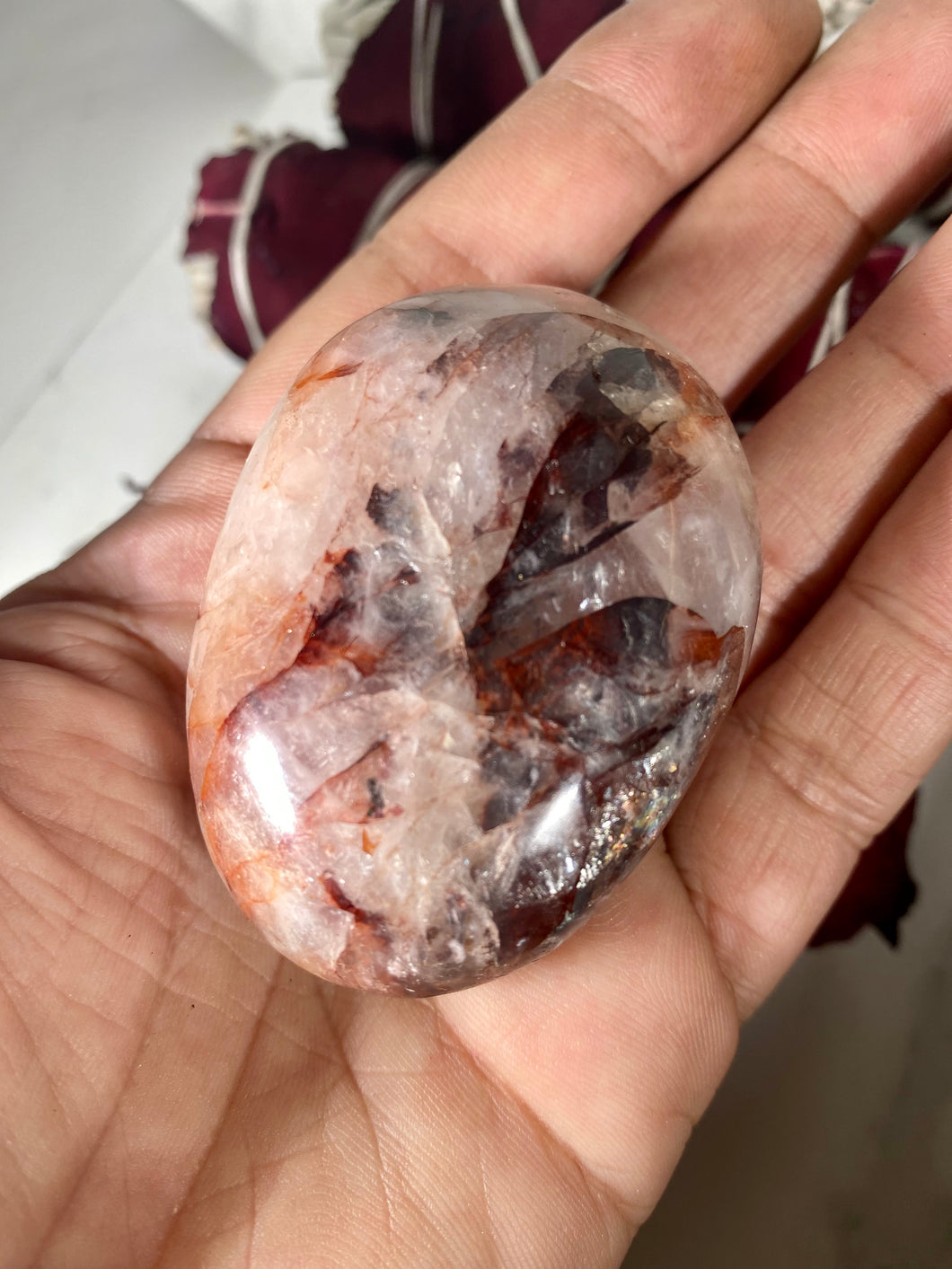 Fire Quartz Crystal Palm Stone #2