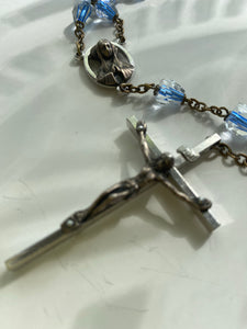 Vintage Blue crystal Rosary Bead Necklace - Ola Wyola