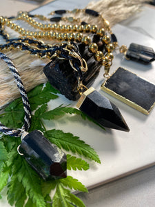 247 Black and Gold Soul Chain w Black Tourmaline Crystal