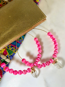 XL Soul Chain Earrings with Vintage Pink Silk Beads, Clear Quartz