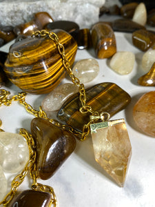 Citrine Powered Soul Chain w Faceted Crystal