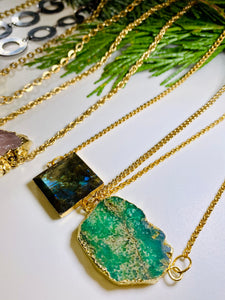 Labradorite Gold Link Soul Chain Necklace