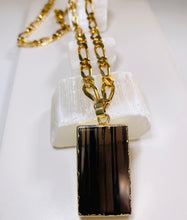 Load image into Gallery viewer, Black Obsidian Root Chakra Gold Soul Chain