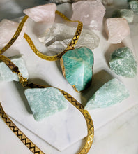 Load image into Gallery viewer, Sleek Gold Soul Chain w Faceted Amazonite Crystal