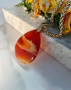 Sacral Chakra - Carnelian Soul Chain w Vintage Gold Plated Chain