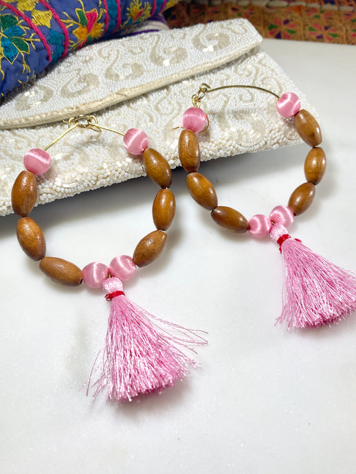 Heart Chakra Soul Chain Earrings w Vintage Teak Beads, Pink Tassels