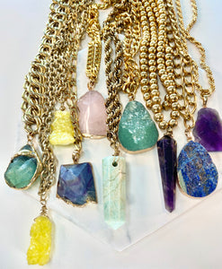 Shakti Chakra Soul Chain Necklace  Large Raw Green Fluorite Crystal & Chunky Gold Chain - Ola Wyola