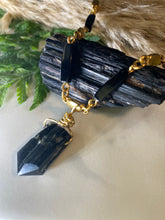 Load image into Gallery viewer, 247 Golden & Black Soul Chain Choker w Black Tourmaline Crystal