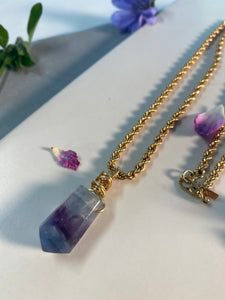Dainty Baby Gold Soul Chain with multi color Faceted  Fluorite crystal