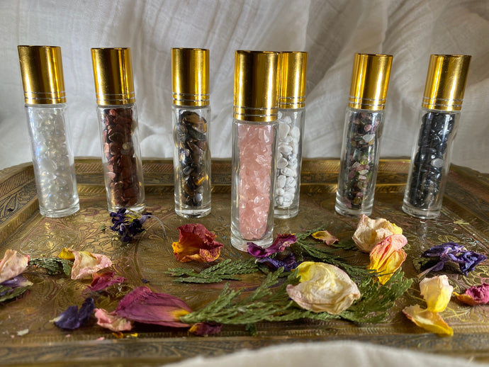 Rose Quartz Crystal Refillable Rollerball for Essential Oils