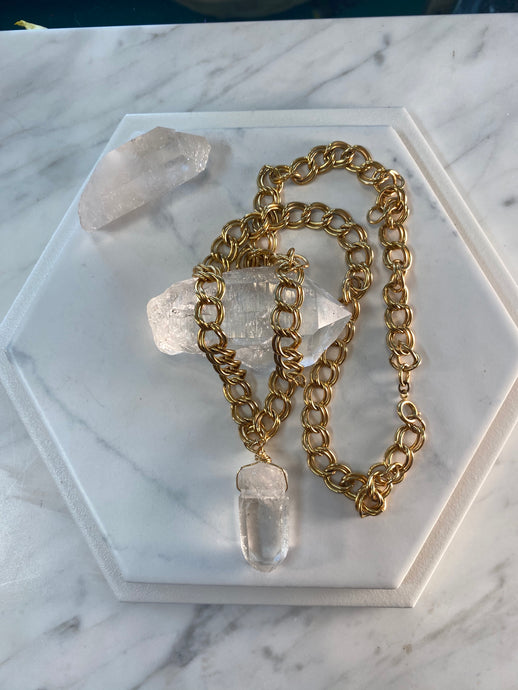 247 Gold Soul Chain Necklace w/ Chunky Clear Quartz