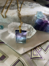 Load image into Gallery viewer, Rainbow Fluorite Crystal Gold Soul Chain Necklace