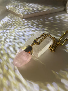 Heart Chakra Soul Chain w Polished  Rose Quartz Crystal Nugget
